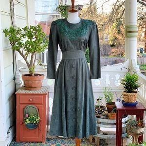 Vintage 80s Karin Stevens Hunter Green Midi Dress